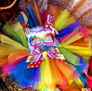 custom made Minnie Mouse rainbow tutu set NB/6mths